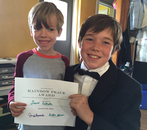 Mason and Griffin, Rainbow Community School Peace Award